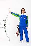 One of top Slovenian archers Ana Umer posing in studio for sportstrait.