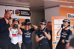 Wiggle High5 team laughing on the podium at 'BLT' jokes at Boels Ladies Tour 2018 - Stage 4, a 124.3km road race from Stramproy to Weert, Netherlands on August 31, 2018. Photo by Sean Robinson/velofocus.com