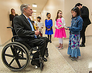 Governor Greg Abbott visits the School at St. George Place, February 26, 2015.