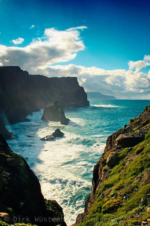 View from Madeira's eastern peninsula Ponta de São Lourenço along the cliffs.