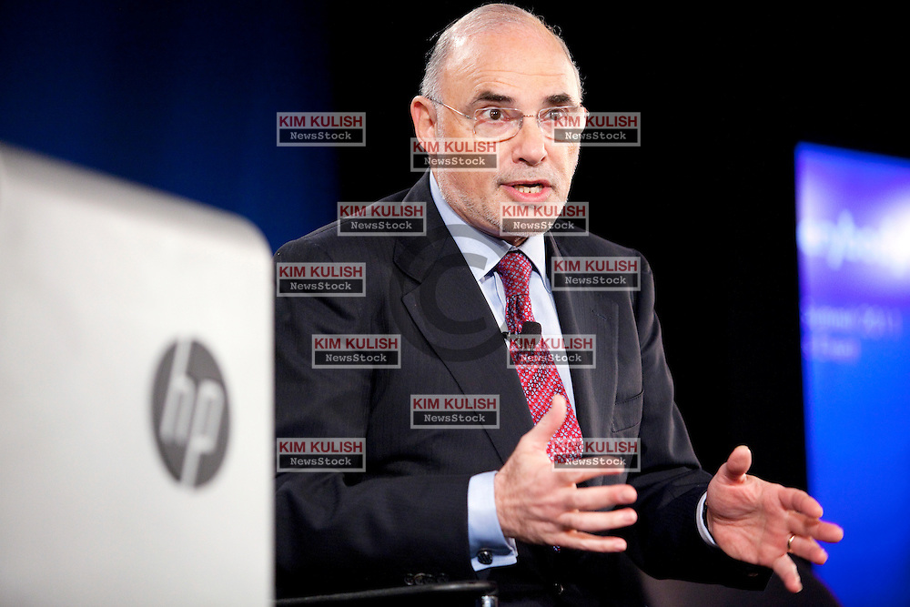 HP CEO and president Leo Apotheker answers questions at a press conference following his keynote at the HP Summit in San Francisco.  Apotheker discussed his vision and strategy for the future of the high tech company..