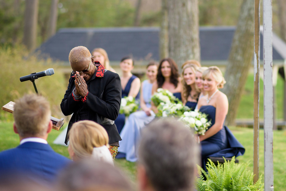Annapolis, Maryland - April 18, 2015: Singer Angelique Kidjo, the founder of Batonga -- the non-profit for which Stephanie Cate is the Executive Director -- flew from her tour in Australia to be at Stephanie and Winston Bao Lord's wedding in Annapolis, Maryland Saturday April 18, 2015. She sang &quot;Blewu,&quot; and African blessing song. <br /> <br /> Stephanie Shearer Cate and Winston Bao Lord wed at their friends Jeff and Marry Zients' house in Annapolis, Maryland Saturday April 18, 2015. <br /> <br /> <br /> <br /> CREDIT: Matt Roth for The New York Times<br /> Assignment ID: 30173318A