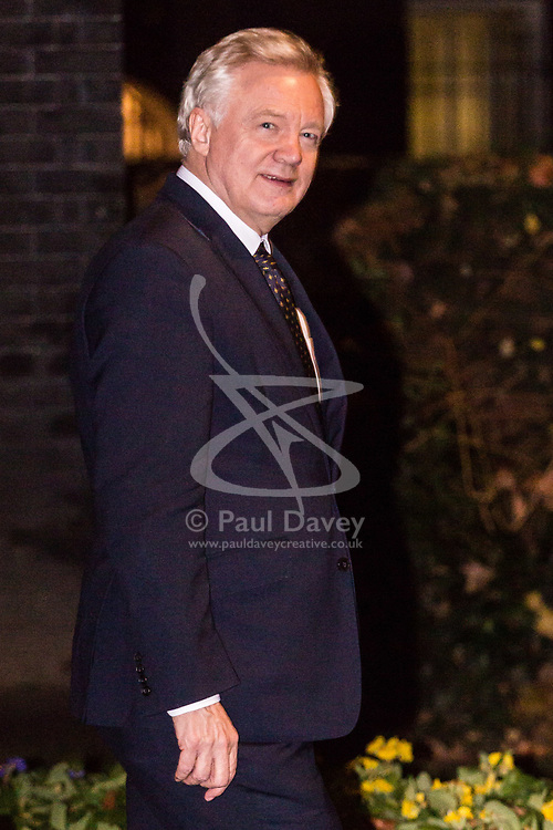 London, December 11 2017. Secretary of State for Exiting the European Union David Davis leaves an after hours meeting with Secretary of State for Northern Ireland James Brokenshire at 10 Downing Street. © Paul Davey