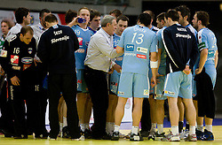 Head coach of Slovenia Zvonimir Serdarusic with his team during the Men's Handball European Championship Main Round match between Slovenia and Czech republic at the Olympia Hall on January 24, 2009 in Innsbruck, Austria.  (Photo by Vid Ponikvar / Sportida) - on January 2010