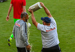 26.05.2019, Red Bull Arena, Salzburg, AUT, 1. FBL, FC Red Bull Salzburg Meisterfeier, im Bild Trainer Marco Rose (FC Red Bull Salzburg) bekommt eine Bierdusche // during the Austrian Football Bundesliga Championsship Celebration at the Red Bull Arena in Salzburg, Austria on 2019/05/26. EXPA Pictures © 2019, PhotoCredit: EXPA/ Stefanie Oberhauser