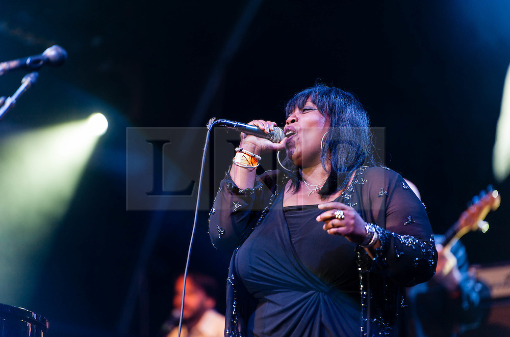 © Licensed to London News Pictures. 22/07/2012. London, UK.  Jools Holland and his Rhythm & Blues Orchestra performs live for BT's River of Music at the Europe stage, Somerset House.  In this pic - Ruby Turner.  Ruby Turner is a Jamaican R&B and soul singer, songwriter and actress.  She is best known for her albums and single releases on both sides of the Atlantic, and has sung backing vocals for others such as Bryan Ferry, UB40, Steel Pulse, Steve Winwood, Jools Holland and Mick Jagger, as well as writing songs that have been covered by many artists including Lulu, Yazz and Maxi Priest.  Photo credit : Richard Isaac/LNP