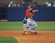 Mississippi's Alex Yarbrough forces out Florida's Josh Adams at Oxford-University Stadium on Friday, March 26, 2010 in Oxford, Miss. Ole Miss won 3-2.