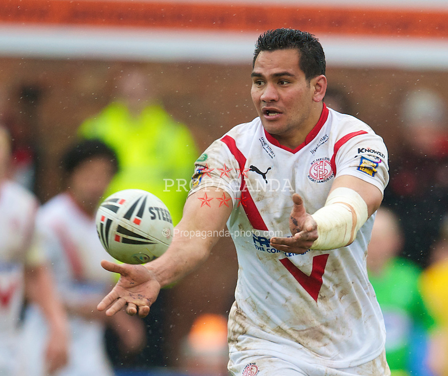 ST HELENS, ENGLAND - Friday, April 2, 2010: St Helens Saints' Tony Puletua in action against Wigan Warriors during the Super League XV Round 9 match at the Knowsley Road. This is the last ever Derby match at the old stadium. (Pic by David Rawcliffe/Propaganda)