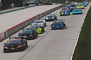 August 3-5 2018: Lamborghini Super Trofeo Road America. Start of race 1. 46 Brandon Gdovic, Shinya Sean Michimi, PPM, Lamborghini Palm Beach Lamborghini Huracan Super Trofeo EVO leads 1 Trent Hindman, Jonathan Cecotto, Wayne Taylor Racing, Prestige, Lamborghini Paramus, Lamborghini Huracan Super Trofeo EVO