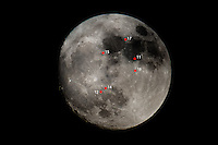 The Moon at full perigee. Red dots indicates the landing spots of the various Apollo missions.