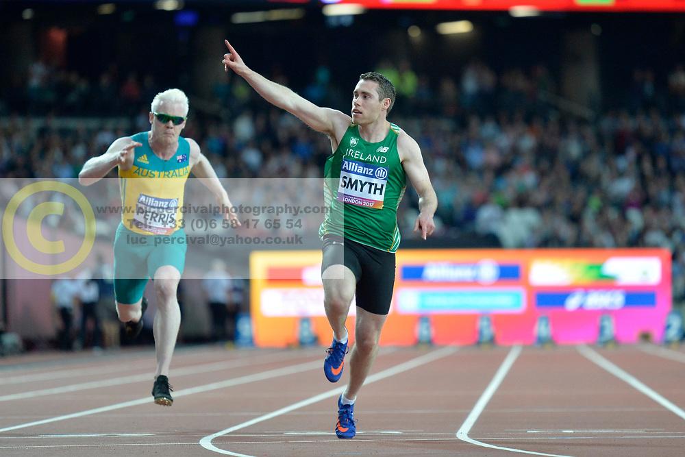 16/07/2017 : Jason Smyth (IRL), Chad Perris (AUS), Men's 100m, T13, at the 2017 World Para Athletics Championships, Olympic Stadium, London, United Kingdom