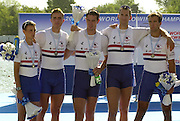 © Peter Spurrier/Sports Photo .email pictures@rowingpics.com tel +44 7973 819 551.Photo  Peter Spurrier.31/08/2003 Sunday.2003 World Rowing Championships, Idroscala. Milan, Italy.  {A Finals].GBR M4+  Silver medal.Bow James Livingstone, 2 Richard Egington, 3 Kieran West, stroke Tom Stallard and Cox Peter Rudge....... Milan. ITALY 2003 World Rowing Championships. Idro Scala Rowing Course. [Mandatory Credit: Peter Spurrier: Intersport Images.]