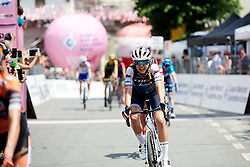 Tayler Wiles (USA) crosses the line on Stage 2 of 2019 Giro Rosa Iccrea, an 78.3 km road race starting and finishing in Viù, Italy on July 6, 2019. Photo by Sean Robinson/velofocus.com