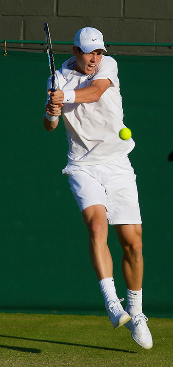 LONDON, ENGLAND - Wednesday, June 25, 2008: Tomas Berdych during his second round match on day three of the Wimbledon Lawn Tennis Championships at the All England Lawn Tennis and Croquet Club. (Photo by David Rawcliffe/Propaganda)