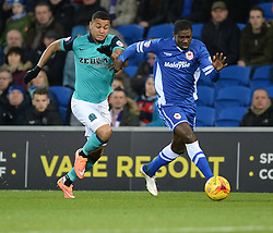 Blackburn Rovers's Joshua King puts Cardiff City's Bruno Ecuele Manga under pressure. - Photo mandatory by-line: Alex James/JMP - Mobile: 07966 386802 - 17/02/2015 - SPORT - Football - Cardiff - Cardiff City Stadium - Cardiff City v Blackburn Rovers - Sky Bet Championship