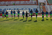 The FGR players warming up during the Pre-Season Friendly match between SC Farense and Forest Green Rovers at Estadio Municipal de Albufeira, Albufeira, Portugal on 25 July 2017. Photo by Shane Healey.