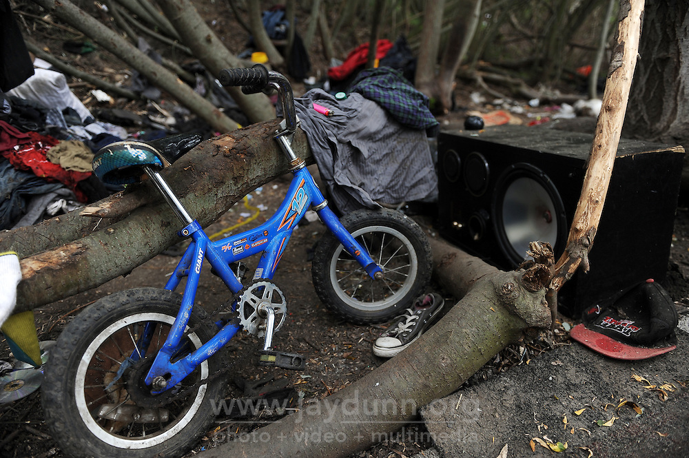 A child's bike left behind at a now-empty homeless camp along Natividad Creek in north Salinas. Monterey County officials gave homeless thirty days to clear the area.