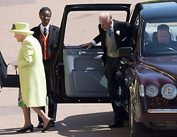 May 19, 2018 - Windsor, United Kingdom - Image licensed to i-Images Picture Agency. 19/05/2018. Windsor , United Kingdom. The Queen and Duke of Edinburgh arriving at the Royal Wedding of Prince Harry and Meghan Markle  (Credit Image: © Stephen Lock/i-Images via ZUMA Press)