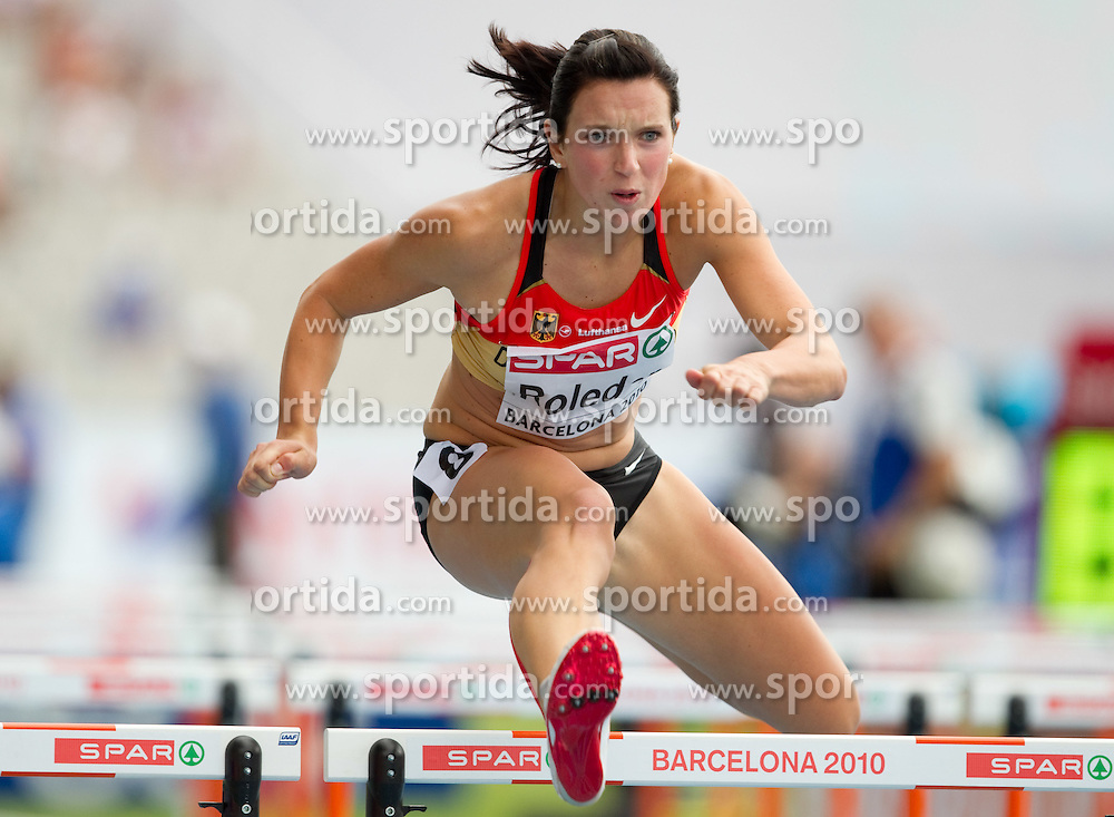 Cindy Roleder of Germany competes during the first round of the women's 100m hurdles at the 2010 European Athletics Championships at the Olympic Stadium in Barcelona on July 30, 2010. (Photo by Vid Ponikvar / Sportida)