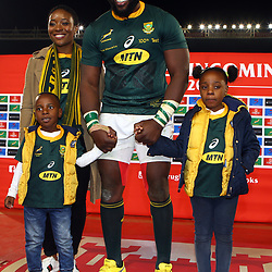 Tendai Mtawarira of South Africa on his 100th cap with wife and his Children,Talumba Mtawarira, Wangu Mtawarira during the 2018 Castle Lager Incoming Series 2nd Test match between South Africa and England at the Toyota Stadium.Bloemfontein,South Africa. 16,06,2018 Photo by (Steve Haag JMP)