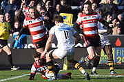 Gloucester winger / centre Henry Trinder scores a try during the Aviva Premiership match between Gloucester Rugby and Wasps at the Kingsholm Stadium, Gloucester, United Kingdom on 24 February 2018. Picture by Alan Franklin.