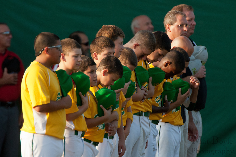 The Erial team lines up for the National Anthem before the Little League State Tournament finals between Paramus and Erial held in Williamstown Tuesday night.