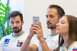 Rok Klavor, Saso Bertoncelj and Lucija Hribar at press conference before European Championship 2018 Glasgow, on July 26, 2018 in Gimnasticna dvorana, Ljubljana, Slovenia. Photo by Matic Klansek Velej / Sportida