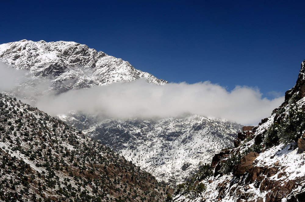 Morocco. High Atlas Mountains surprisingly covered with snow in May.