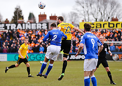 Bristol Rovers' Andy Monkhouse challenges Macclesfield Town's Andy Halls  - Photo mandatory by-line: Neil Brookman/JMP - Mobile: 07966 386802 - 28/03/2015 - SPORT - Football - Macclesfield - Moss Rose - Macclesfield Town v Bristol Rovers - Vanarama Football Conference