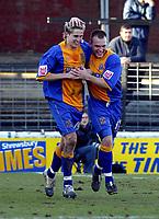 Photo: Dave Linney.<br />Shrewsbury Town v Leyton Orient. Coca Cola League 2. 04/03/2006.Shrewsbury'sDave Edwards (L) makes it 2-2 and celebrates with  Neil Ashton