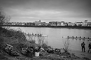 London. United Kingdom,  crews kit and boots waiting for the crews to return after the race, 2018 Women's Head of the River Race.  location Barnes Bridge, Championship Course, Putney to Mortlake. River Thames, <br />