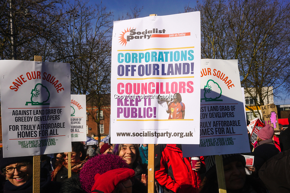 Hundreds of local community hosts a rally Occupy E17 Market Square demand for affordable homes + no land grab against greedy housing development to build a tower block it cost three time of  minimum wages to lives there. Protestors demand affordable housing and rent control of greedy landlord on 24 Feb 2018 in Walthamstow square, London, UK.