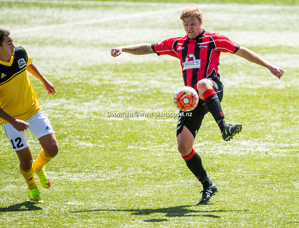 Danny Boys of Canterbury United with the ball during the Canterbury United Youth v Wellington Phoenix Youth football match held at ASB Football Park. 22 November 2015. Photo: Joseph Johnson / www.photosport.nz