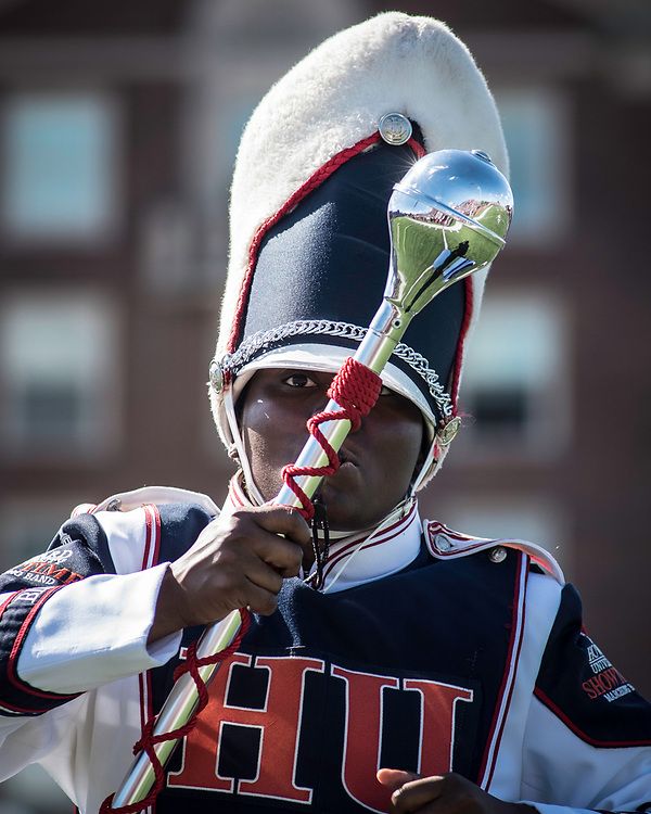 WASHINGTON,DC - October 7, 2017: Drum Major Jordan Washington leads her band during the halftime show.<br /> Howard University's Showtime Marching Band is part of a long tradition of outstanding bands at HBCU's. The band practices in the days leading up to a home game against North Carolina Central. (Andr&eacute; Chung for The Undefeated)