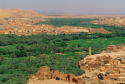 Africa, Morocco, Dades Valley, Tinerhir, arid land with traditional mud brick buildings surround lush irrigated palmery and wheat fields