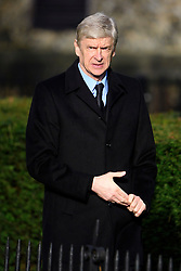 © Licensed to London News Pictures. 01/02/2017. Watford, UK. Arsenal FC manager ARSENE WENGER attends The funeral of former England football team manager Graham Taylor at St Mary's Church in Watford, Hertfordshire. The former England, Watford and Aston Villa manager,  who later went on to be chairman of Watford Football Club, died at the age of 72 from a suspected heart attack. Photo credit: Ben Cawthra/LNP