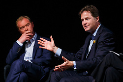 © Licensed to London News Pictures. 07/06/2016. London, UK. Former Liberal Democrat leader NICK CLEGG joins current Liberal Democrat leader TIM FARRON at a Q&A session on EU referendum in central London on 7 June 2016. Photo credit: Tolga Akmen/LNP