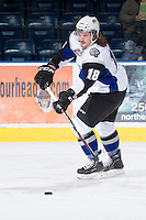 KELOWNA, CANADA - DECEMBER 5:  Daniel Dale #18 of the Swift Current Broncos skates on the ice during warm up at the Kelowna Rockets on December 5, 2012 at Prospera Place in Kelowna, British Columbia, Canada (Photo by Marissa Baecker/Shoot the Breeze) *** Local Caption ***
