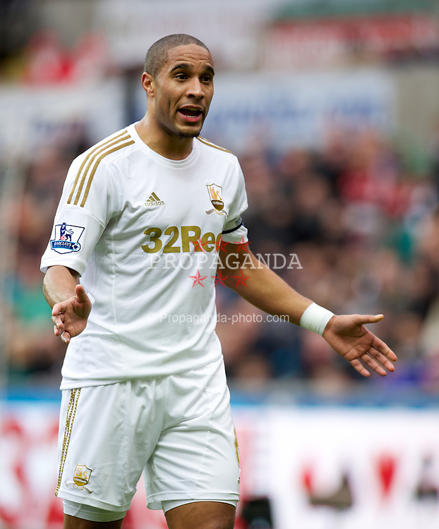SWANSEA, WALES - Sunday, December 23, 2012: Swansea City's captain Ashley Williams during the Premiership match against Manchester United at the Liberty Stadium. (Pic by David Rawcliffe/Propaganda)