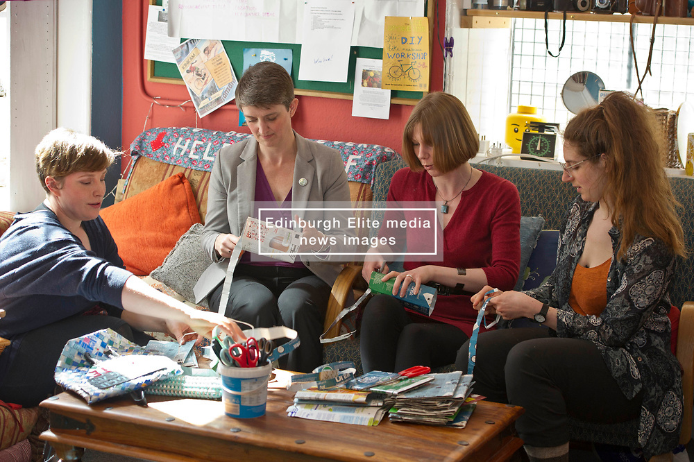 Pictured: Sarah Beattie-Smith, Outreach and communications facilitator, Maggie Chapman, Claire Miller, candidate for the city centre ward and Board Member, Olivia Nathan<br /> <br /> Scottish Green Party co-convenor Maggie Chapman and local candidate Claire Miller visited the Shrub Swap and Reuse Hub in Edinburgh today as part of the local election campaign. They met Sarah Beattie-Smith, Outreach and communications facilitator, Jess Acton, Food Sharing facilitator and Board Member, Olivia Nathan<br /> Ger Harley | EEm 20April 2017