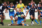 Piers Francis goes down with an injury during a pre season Super Rugby match. Blues v Storm, Pakuranga Rugby Club, Auckland, New Zealand. Thursday 4 February 2016. Copyright Photo: Andrew Cornaga / www.Photosport.nz