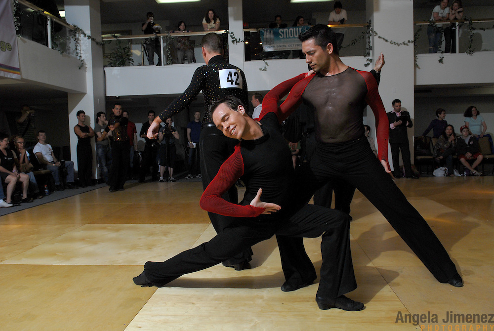 Same-sex ballroom dancers Jean-Francois Fortin, left, of Montreal, Canada and Willem Alexander, of Jersey City compete in the men's latin competition men's latin competition at the 5 Boro Dance Challenge on May 5, 2007...The locally produced 5 Boro Dance Challenge, New York City's first major same-sex dance competition, was held at the Park Central Hotel in Manhattan from May 4-6, 2007. .