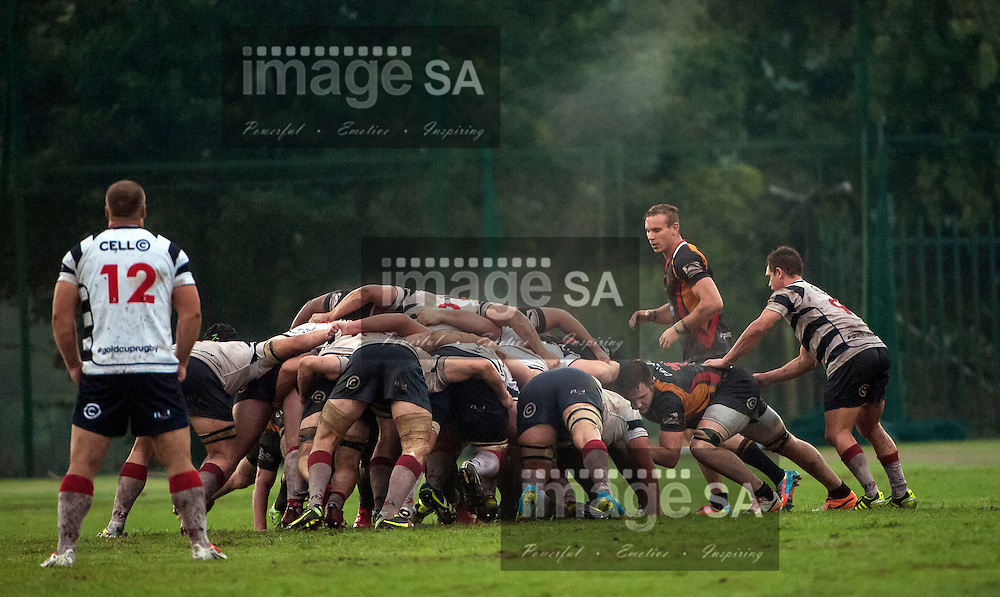 JOHANNESBURG, SOUTH AFRICA - Saturday 21 March 2015, Scrum during the fifth round match of the Cell C Community Cup between Vaseline Wanderers and Aveng Moolmans Sishen at Kent Park, Wanderers Cricket Club, Johannesburg<br />