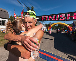 Great Cranberry Island Ultra 50K road race: Gary Allen hugs Sarah Emerson
