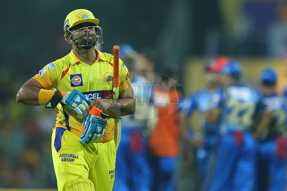 Suresh Raina of the Chennai Superkings departs during match 47 of the Pepsi IPL 2015 (Indian Premier League) between The Chennai Superkings and The Rajasthan Royals held at the M. A. Chidambaram Stadium, Chennai Stadium in Chennai, India on the 10th May 2015.<br /> <br /> Photo by:  Ron Gaunt / SPORTZPICS / IPL