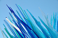 Detail of a blue glass sculpture seen in Murano, Italy.
