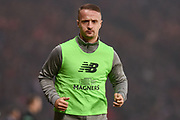 Leigh Griffiths warms up for the Betfred Cup Final between Celtic and Aberdeen at Hampden Park, Glasgow, United Kingdom on 2 December 2018.