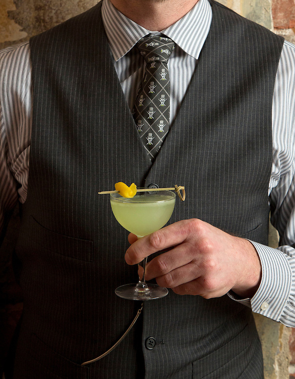 Giuseppe's Beverage Director Sean Ward with Green Manalishi. (Will Shilling/Crave)