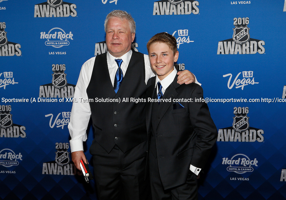 2016 June 22: Gerry Nelson and son Wyatt Nelson pose for a photograph on the red carpet during the 2016 NHL Awards at the Hard Rock Hotel and Casino in Las Vegas, Nevada. (Photo by Marc Sanchez/Icon Sportswire)