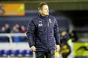 AFC Wimbledon manager Neal Ardley looking towards stand during the EFL Sky Bet League 1 match between AFC Wimbledon and Southend United at the Cherry Red Records Stadium, Kingston, England on 1 January 2018. Photo by Matthew Redman.